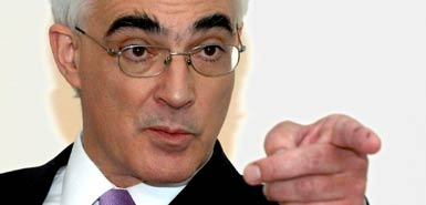 Alistair Darling, Chancellor of the Exchequer. Image from TimesOnline